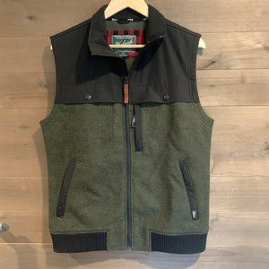WOOLRICH Luxe Wool Tweed Color Block Vest Jacket